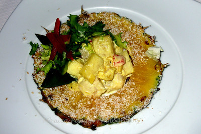 Curry chicken salad in pineapple appetizer
