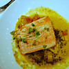 Salmon with curry lentils.