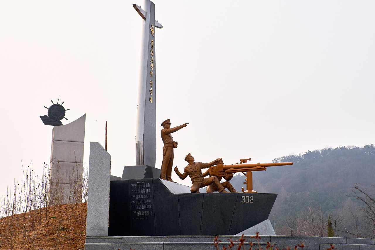 Monument on Wolmido Island commemorating General Douglas MacArthur who led U.S. forces in the Incheon Landing turning the tide of the Korean War.