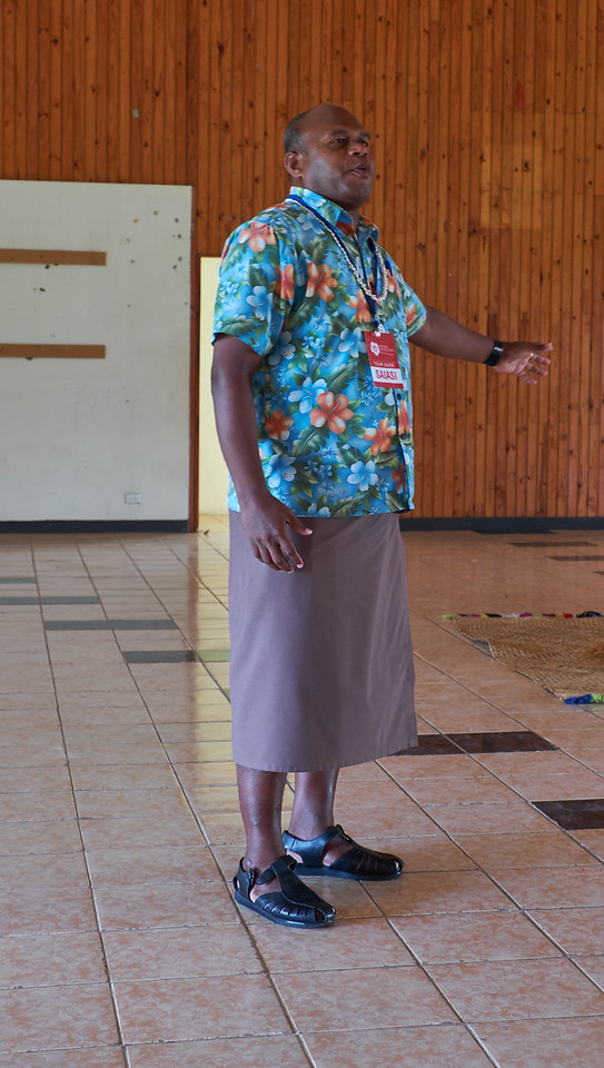 The traditional wrap around male Fijian skirt made of lightweight solid material suitable for tropical weather. It is a wrap around with three pockets and is secured by a belt and buckle.