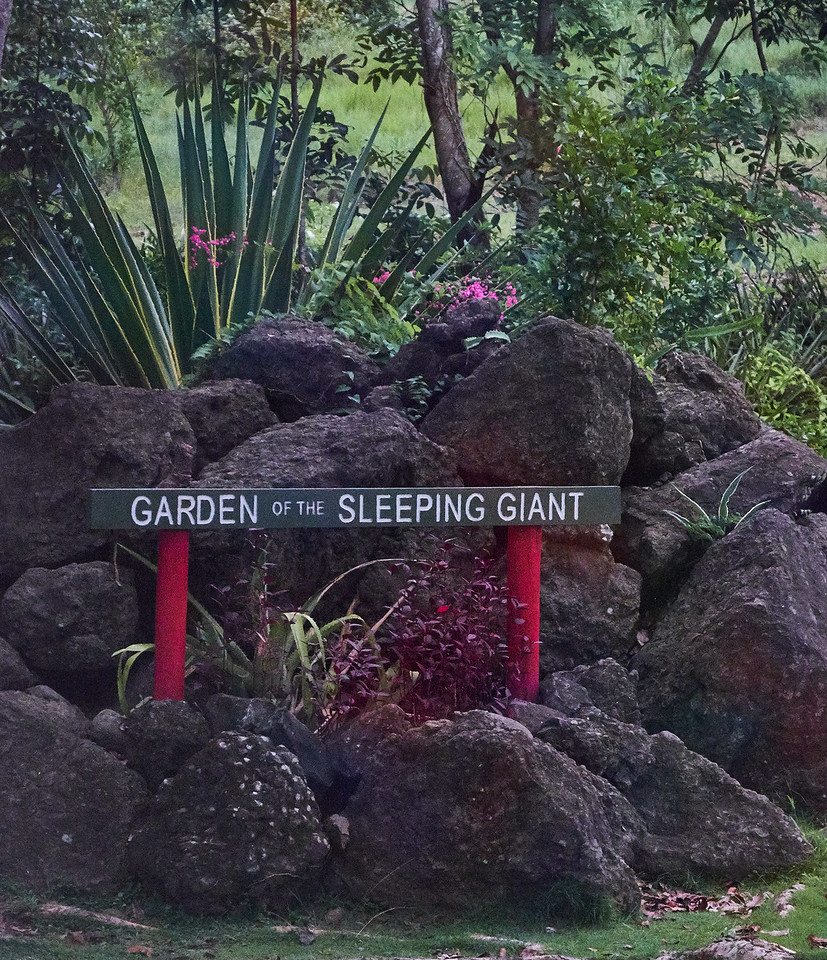Entrance to Garden of The Sleeping Giant. It was begun by Raymond Burr. From the air the mountain and garden area appear to be a sleeping giant. (from bus).