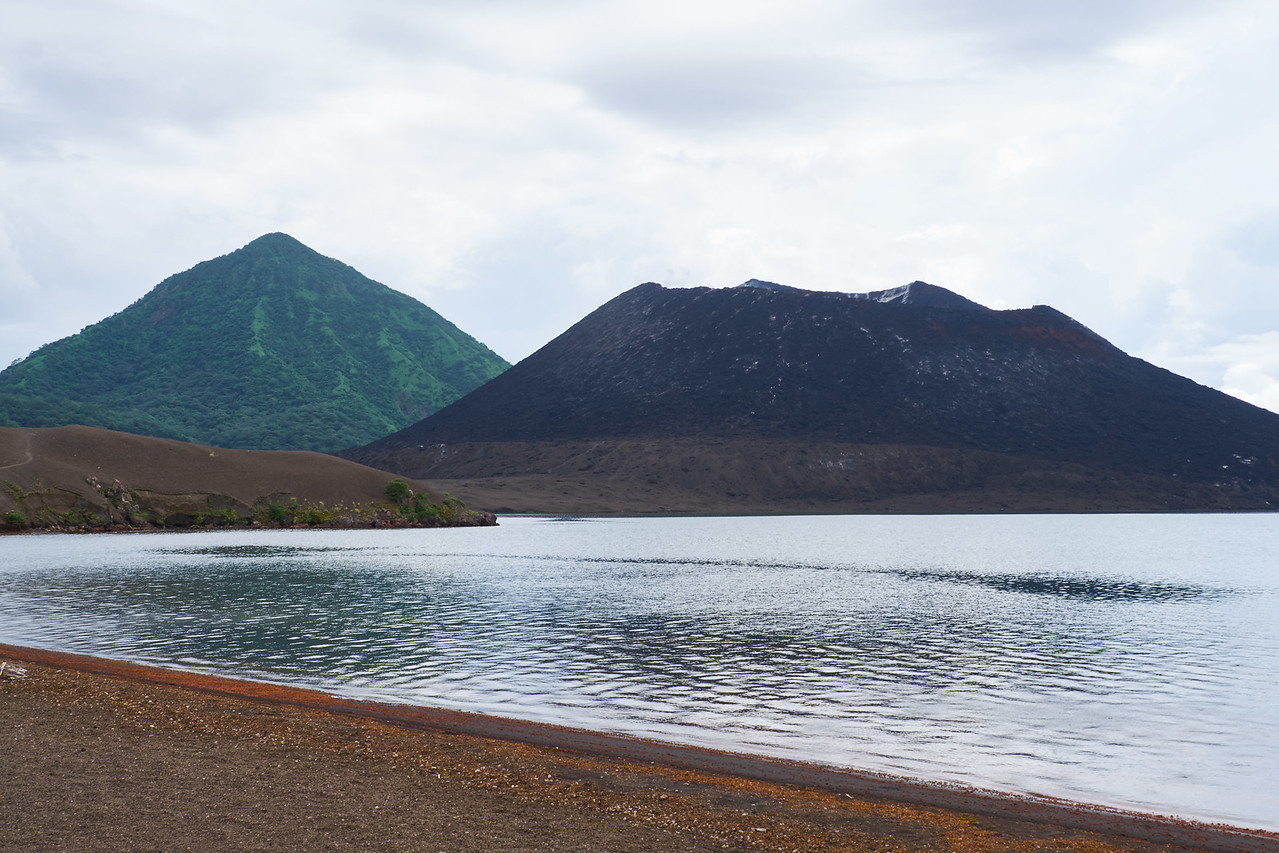 A dormant volcano (left) and an active volcano (right) from the Hot Springs.