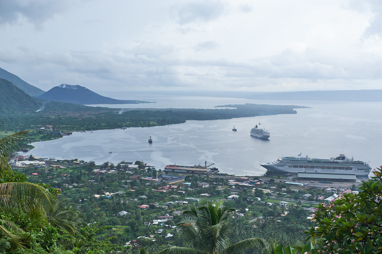 View of Simpson Harbor from Rabaul Volcanological Observatory. The Observatory was established in 1937 and still monitors the activity of New Guinea's 14 active and 23 dormant volcanoes.