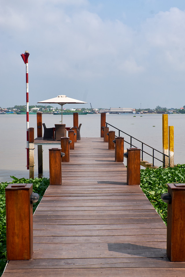 The Island Lodge dock area on the Mekong River.
