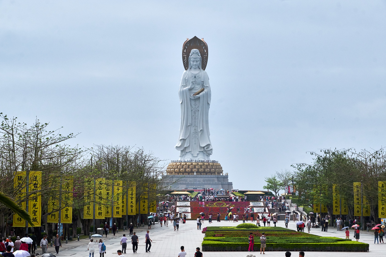 Guan Yin Statue, third tallest statue in the world, is 350 feet tall. That is 200 feet higher than the Statue of Liberty.