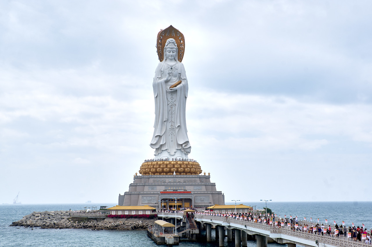 Guan Yin Statue is on it's own manmade island.