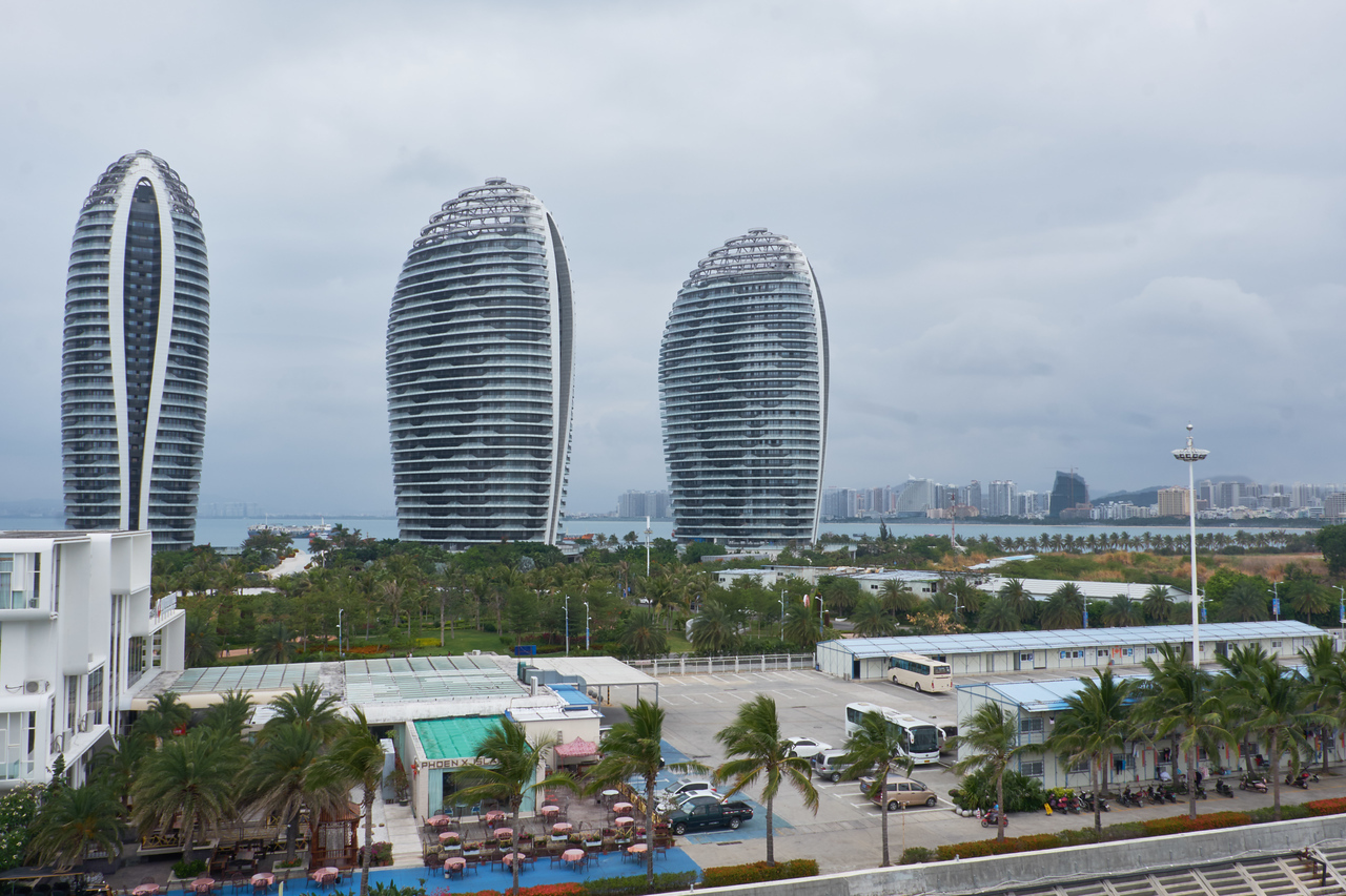 View of Sanya city in the distance from my cabin.