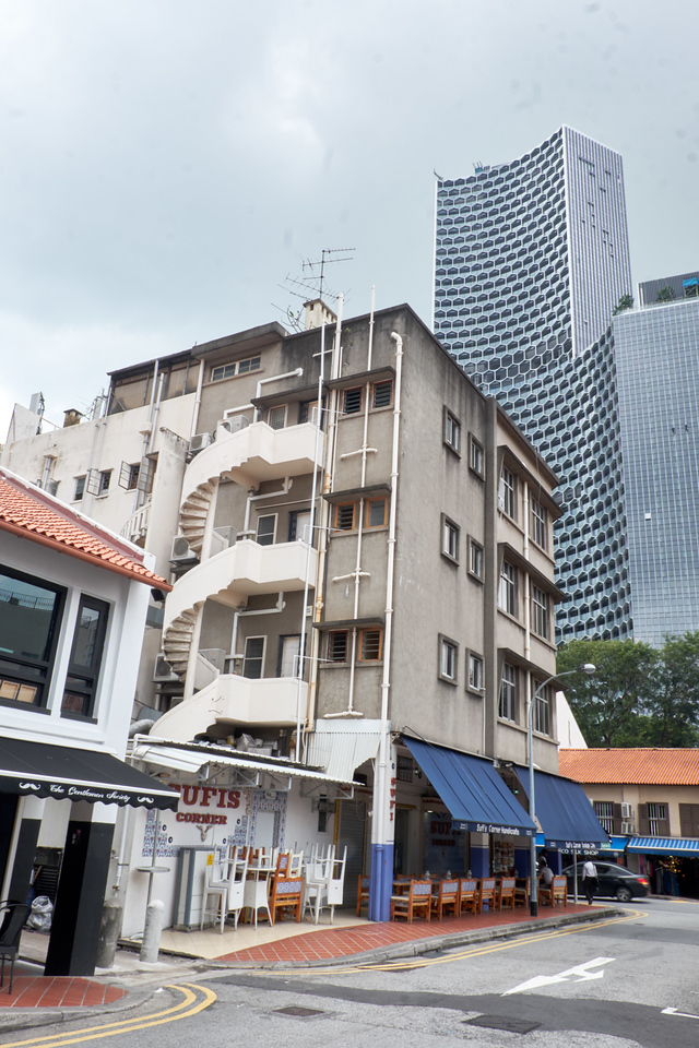 The old and the new in the Arab Street area.