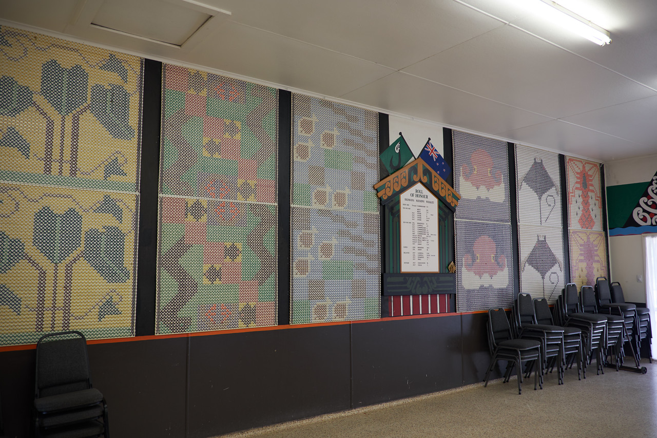 The pictures and murals on the walls of the Hina Taranga, Dining Hall, depict the tribe's life in Hawkes Bay.