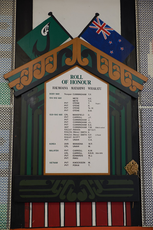 The placque honoring the Maoris who served in the army.