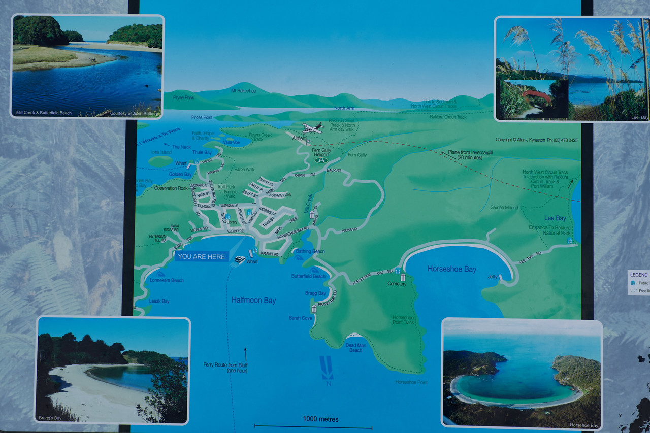 Map and pictures of Stewart Island and surrounding area.