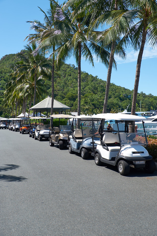 Basically no cars allowed on Hamilton Island so golf carts are the chief mode of transportation.