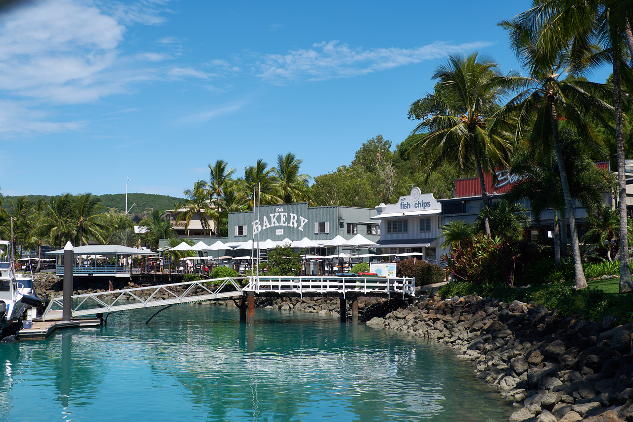View of the shopping area on Hamilton Island.