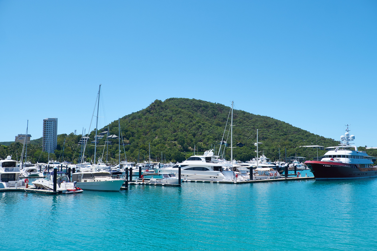 View of Hamilton Island Marina from The Yacht Club.