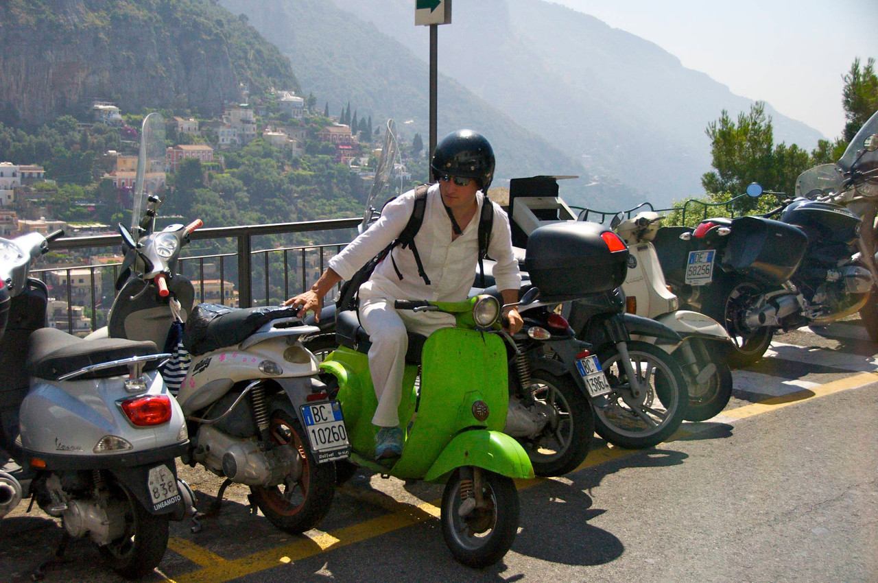 Scooters Are A Popular Mode of Transportation on Narrow Streets of The Amalfi Coast