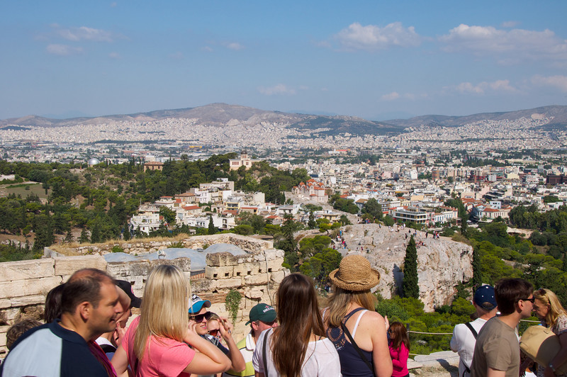 View of Athens Half Way to Top of Acropolis