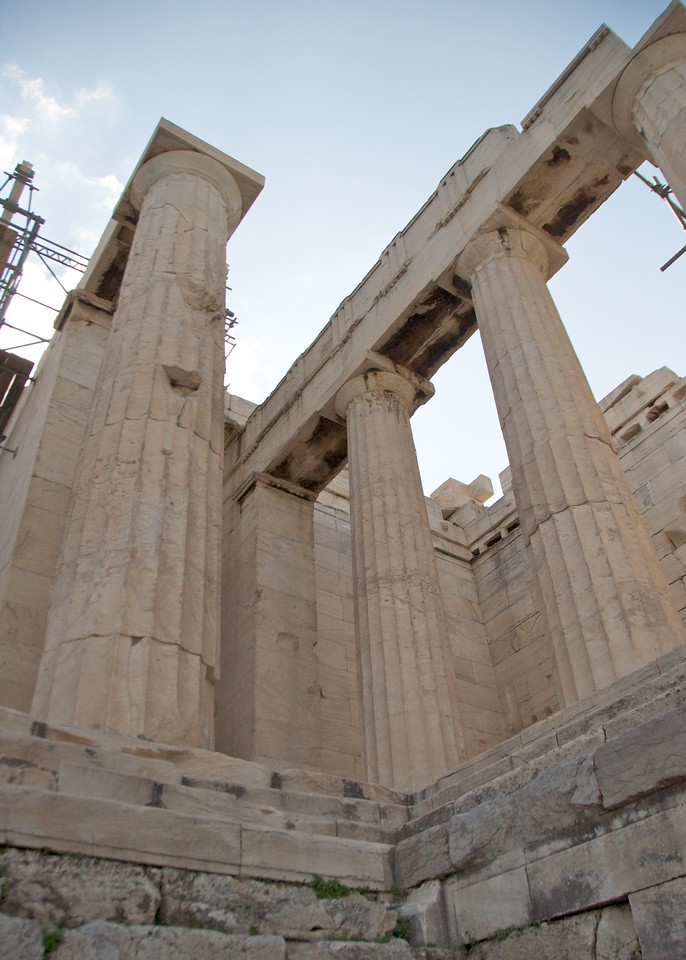 Looking Up At Acropolis Entrance