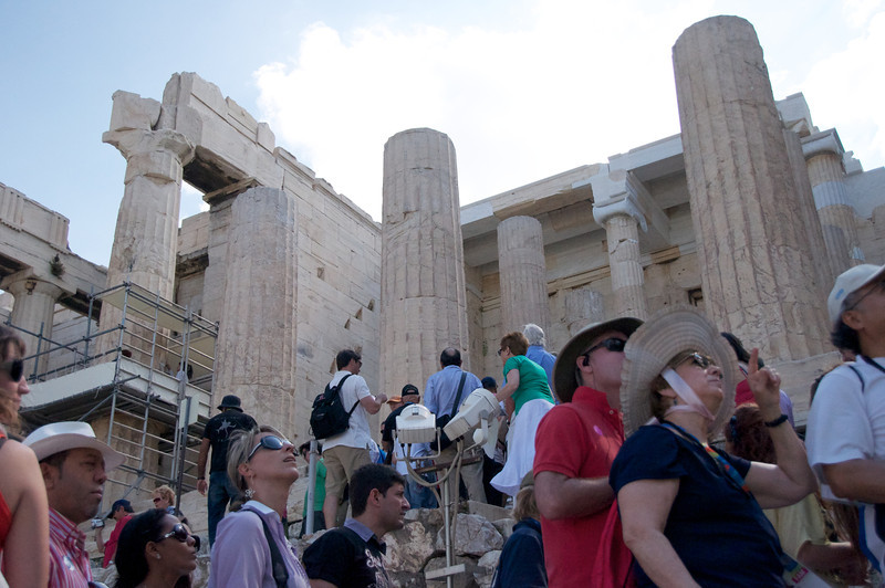 Very Crowded Climbing to Top of Acropolis