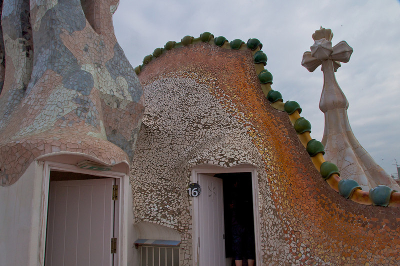 Cross-St  George's Sword from Roof   Middle Door Leads to Water Storage Tank   Gaudi about Function and Design    Water is Warm in Winter and Cool in Summer