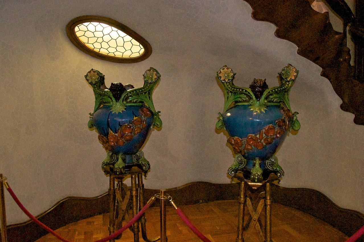 Decorative Vases (Designed by Gaudi)Displayed at Bottom of Main Staircase