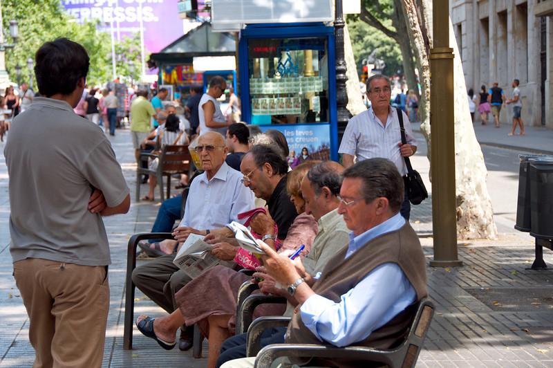 Locals Socializing on La Rambla