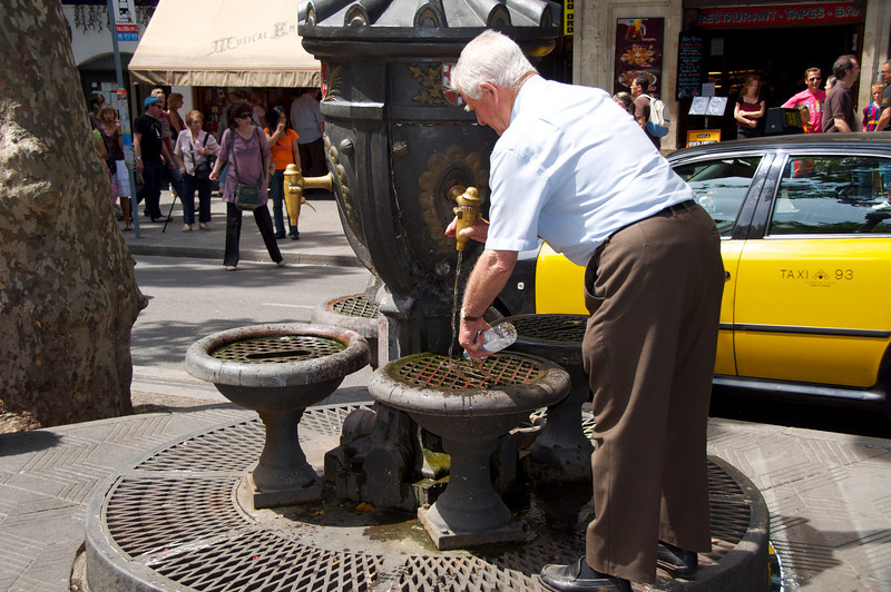 Local Using Public Water Fountain
