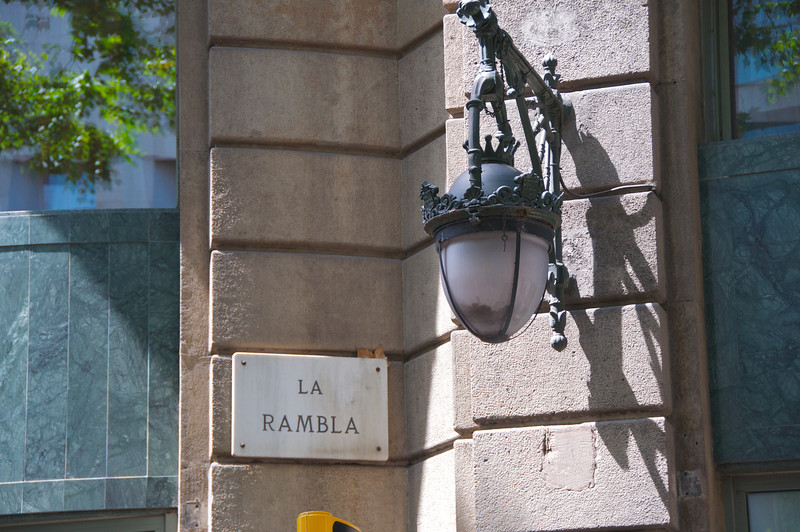 La Rambla Sign    Light Fixture Found Throughout the Area