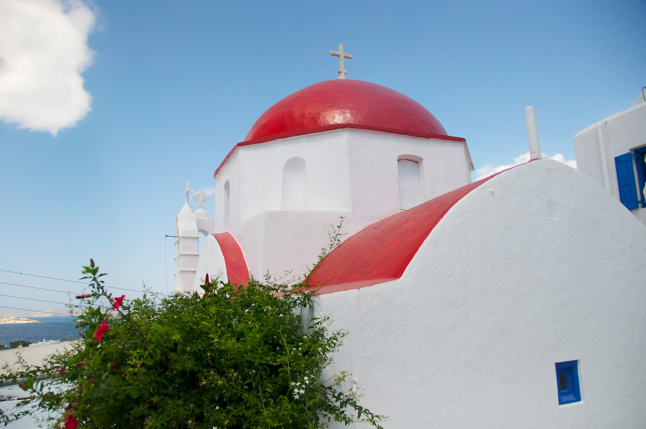 Mykanos Church Domes Are Red