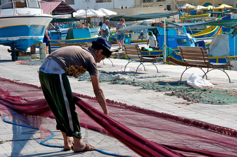 Local Fisherman Preparing Their Net