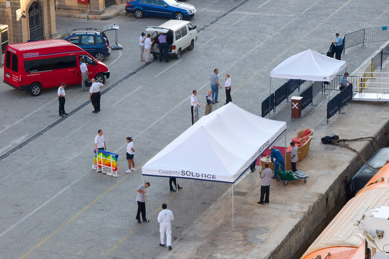 Celebrity Solstice Crew Setting Up Gangway Area   Seen from My Veranda