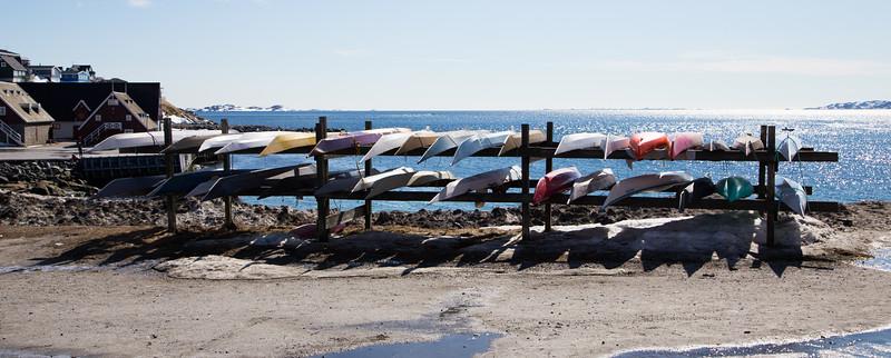 Kayak rack in Nuuk