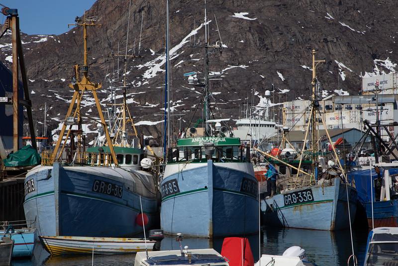Working fishing boats, Sisimiut harbor