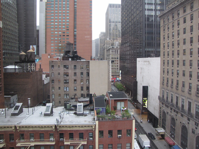 We were only a block from Broadway and within walking distance of all the major theatres.  You can see the Gershwin Theatre where Wicked is playing from our hotel room.  It is the white building with the black marquee.