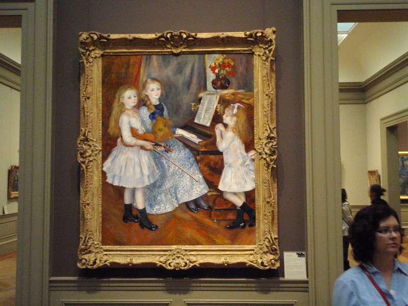"Sheila walks away from Renoir's ""The Daughters of Catulle Mendès"" painted in 1888."