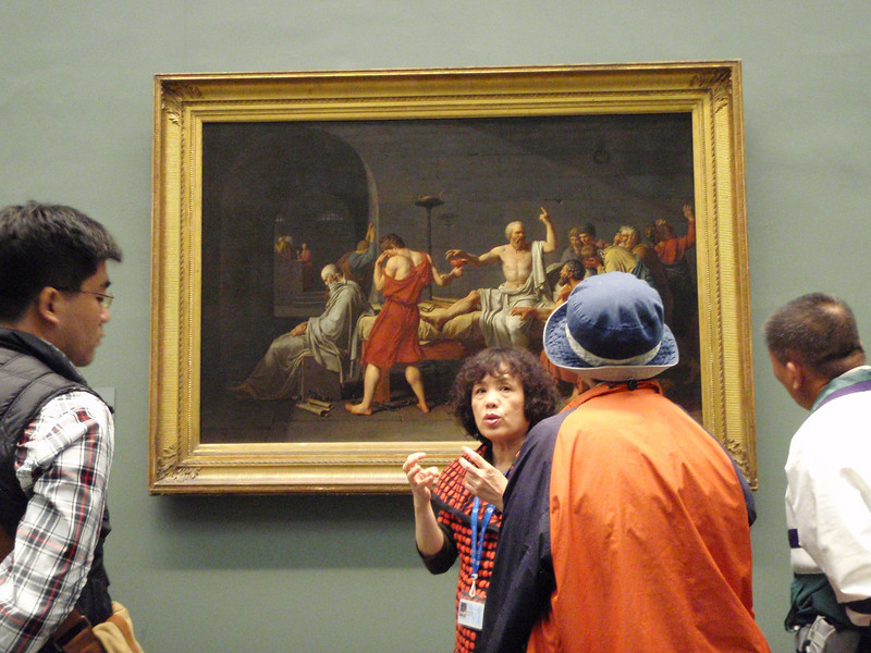 "A Japanese tour guide talks about Jacques-Louis David's ""The Death of Socrates"" from 1787."