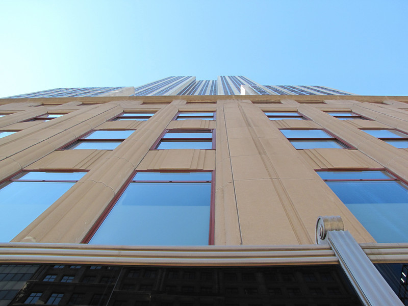 Looking up from the base of the Empire State Building.
