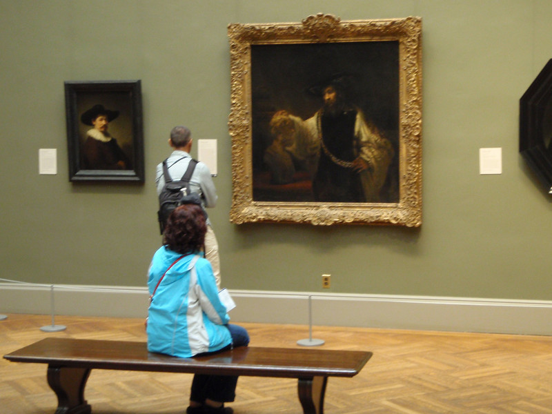 "Sheila pauses to take in Rembrandt's ""Aristotle with a bust of Homer"" painted in 1653."