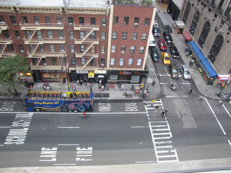 We stayed at the Hampton Inn at the corner of 51st St. & 8th Ave. in Manhattan.  It was a great location.  This is the view of the street from our room.