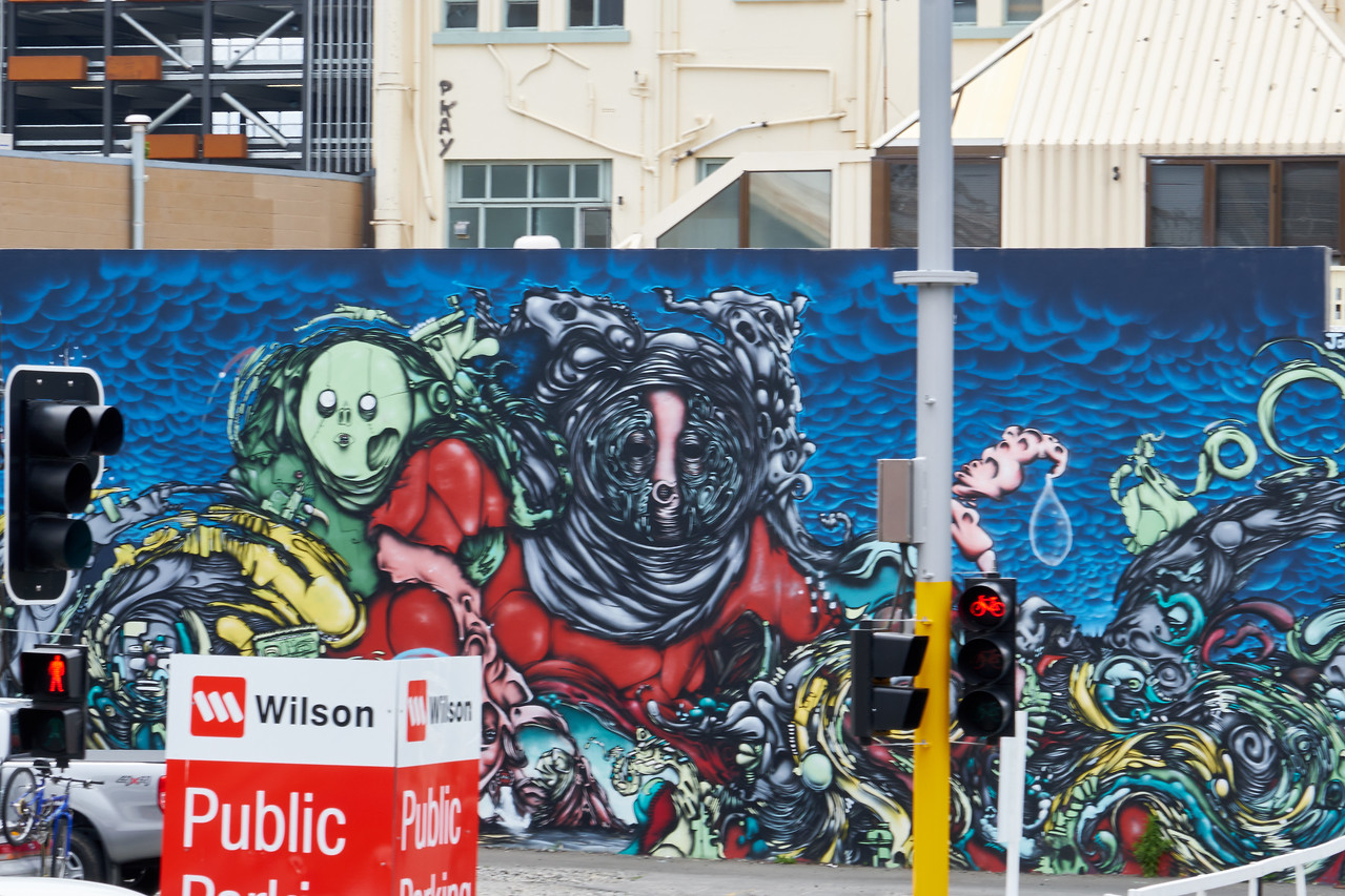 There is a lot of graffiti art.It has been allowed to cheer up the CBD, central business district (from bus).