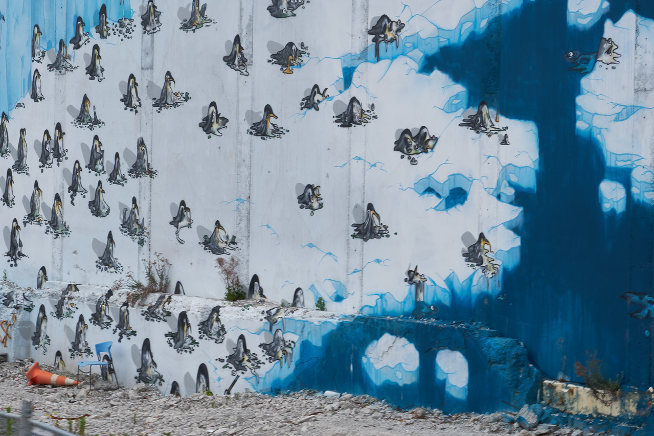 On this graffiti art the ice and the penguins are melting. It is a statement on global warming(from bus).