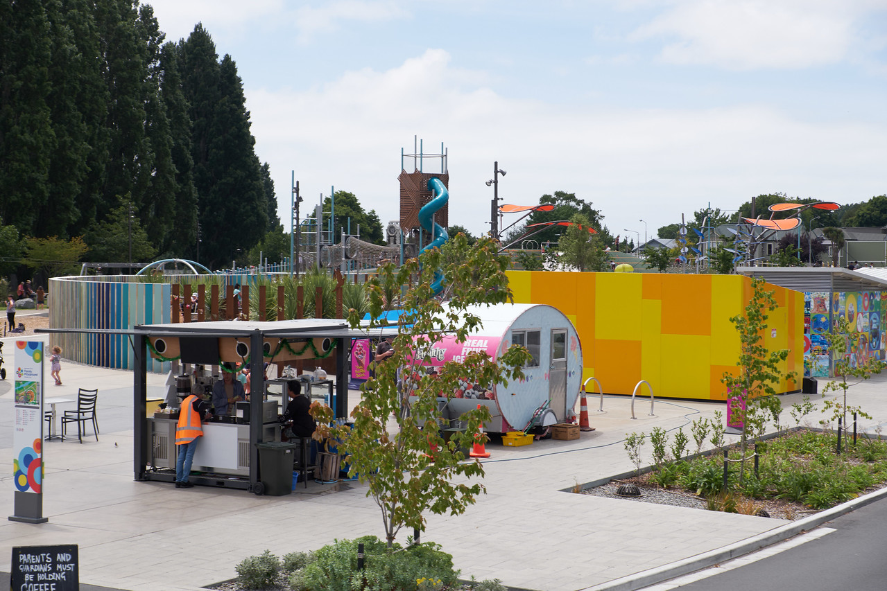 A children's park built to attract people back into town (from bus).