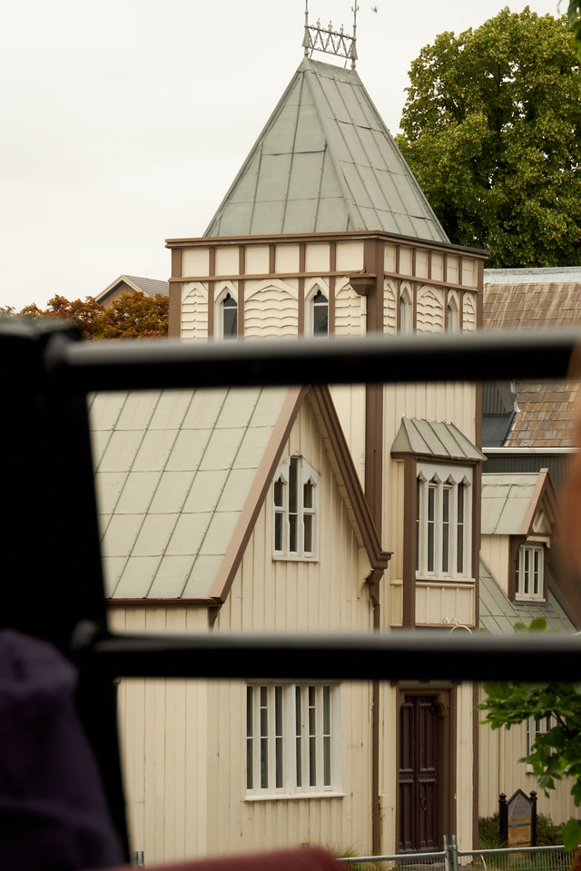 One of the wood buildings in Christchurch built in the 1850s (from bus).