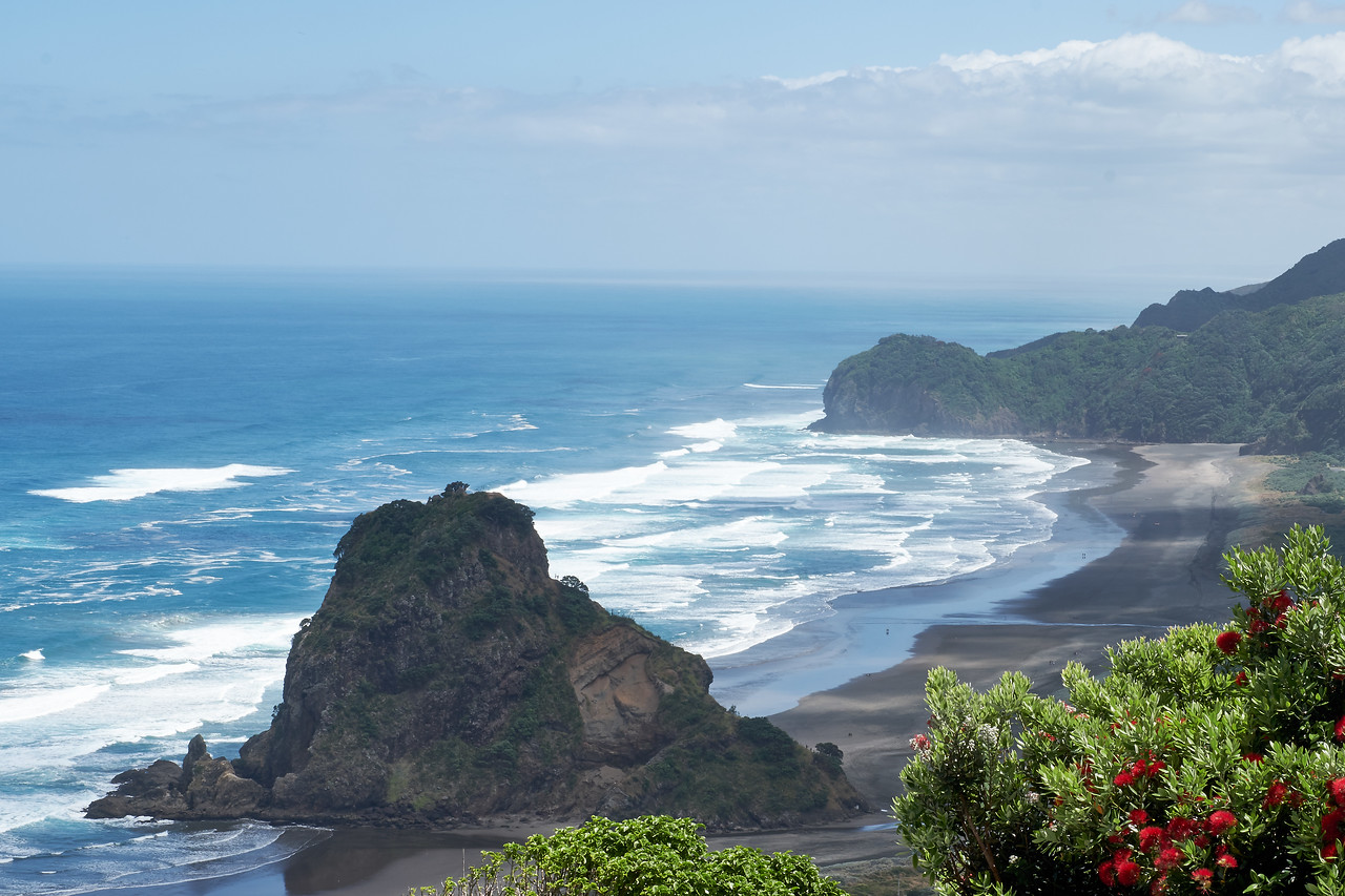Lion Head rock (forefront) and Piha Beach.