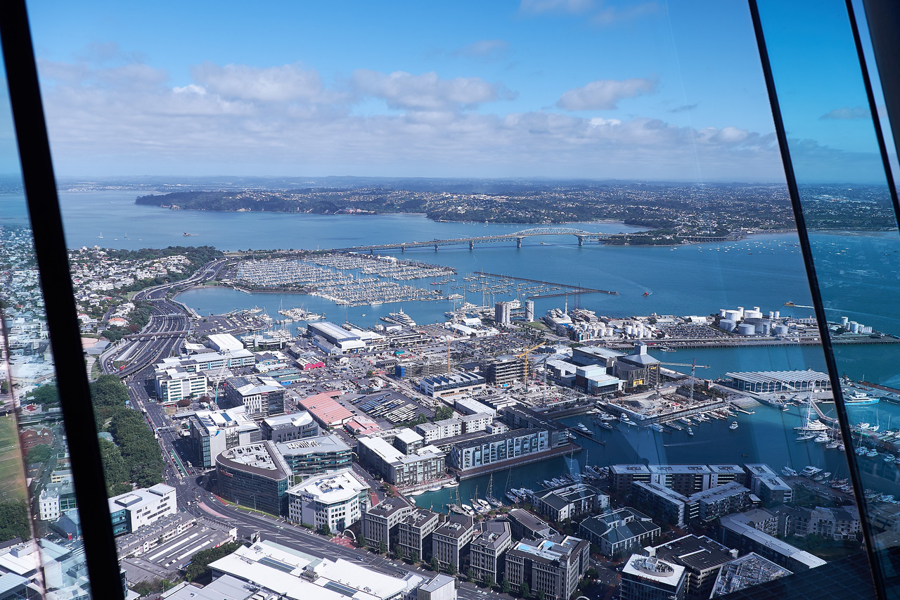 Auckland, Bridge and Harbour from 60th floor of Skywalk Tower.