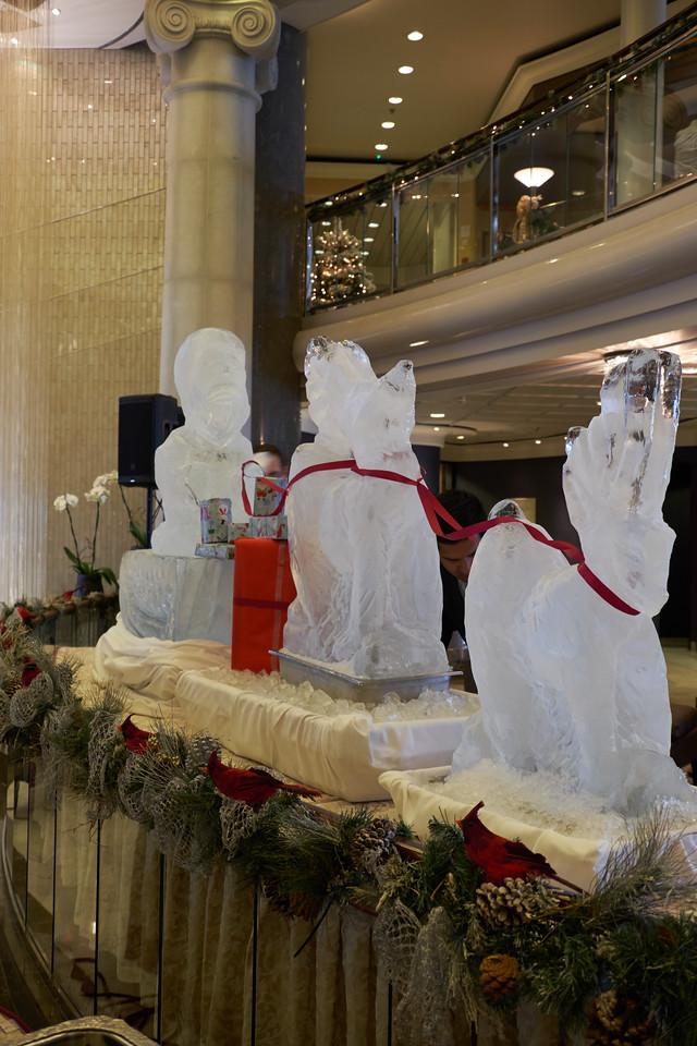 Santa and his reindeer ice sculpture.