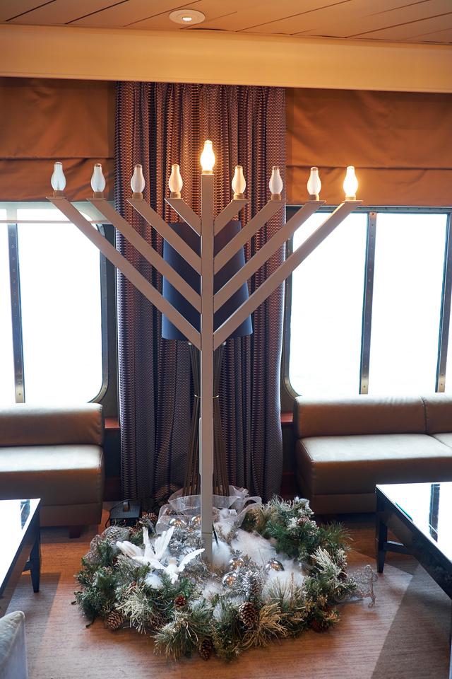 Chanukah menorah in the reception area.