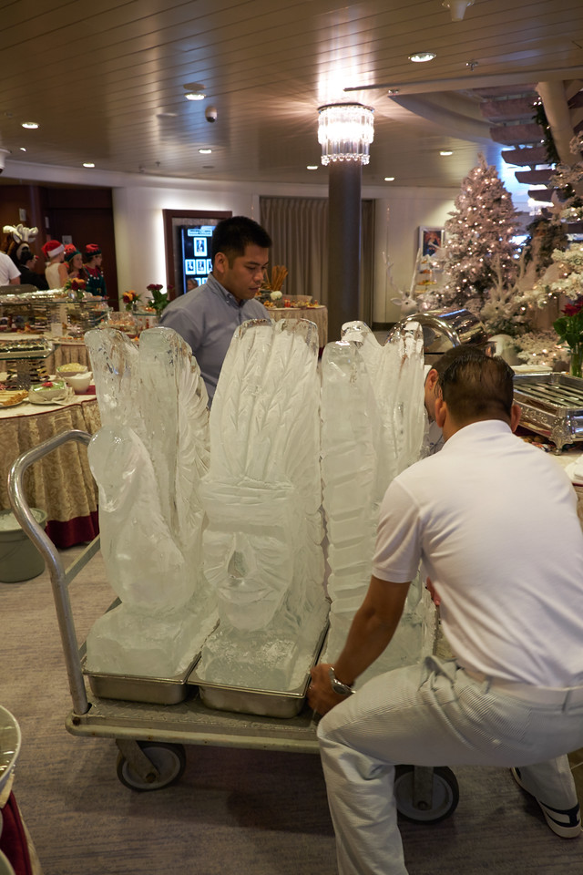Other ice scuptures for the Christmas Gala Buffet. Takes 3 men to lift them into place.