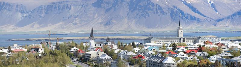 Reykjavik City Panorama (Háteigskirkja church left)
