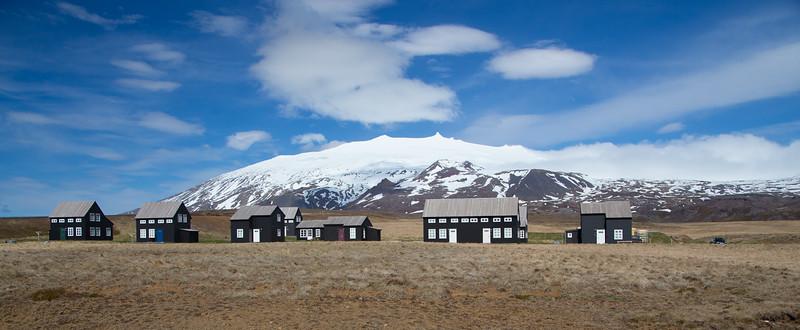 Summer cottages at base of Snæfellsjökull glacier
