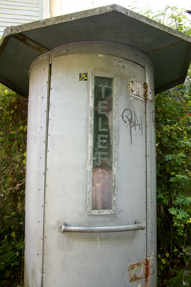 Old Telephone booth outside the gates of the museum
